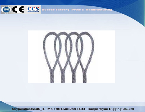 Tianjin Yiyun Rigging Hand Tucked Spliced Soft Loop Steel Wire Rope Slings GB/DIN/BS/JIS/ASTM/RR-W-410/API/ISO Standard