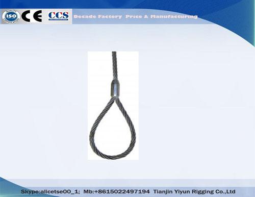 Galvanizované lano rozvázání lana jednoduchá noha lisovaná drátěný popruh, lanové vybavení LANGalvanized ire Rope Slings Single Leg Pressed wire Rope Sling, Wire Rope Rigging