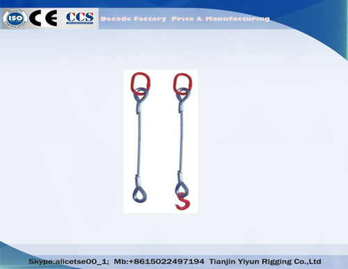 Galvanized ire Rope Slings Single Leg Pressed wire Rope Sling, Wire Rope Rigging